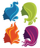 Natural symbols. Vector collection of stylized girl's heads with nature hair Royalty Free Stock Photography