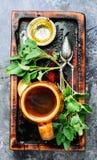 Natural tea with melissa royalty free stock photos