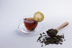 Natural tea in a wooden spoon. Royalty Free Stock Image
