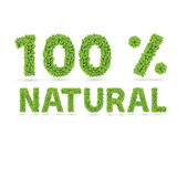 100% natural text of green leaves Royalty Free Stock Image