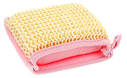 Natural textile bath sponge Stock Photos