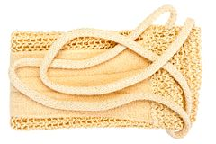 Natural textile bath sponge with rope handle Royalty Free Stock Image