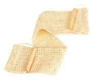 Natural textile bath sponge with wooden handle Stock Image