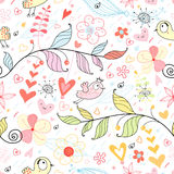 The natural texture with hearts and birds royalty free illustration