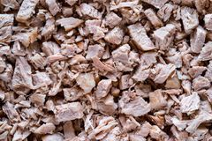Natural texture of pieces of boiled meat Stock Photography