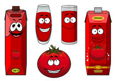 Natural tomato juice cartoon characters. Depicting cute ripe tomato vegetable, glasses with thick red drink and cardboard containers for food pack design Royalty Free Stock Image