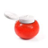 Natural tomato ketchup container. On white stock photos