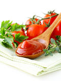 Natural tomato sauce (ketchup) with herbs Stock Images