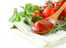 Natural tomato sauce (ketchup) with herbs Royalty Free Stock Photos