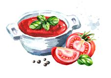 Natural tomato soup. Watercolor hand drawn illustration, isolated on white background.  Royalty Free Stock Image