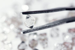 Natural  transparent diamond in tweezers. In macro Royalty Free Stock Images