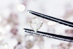 Natural  transparent diamond in tweezers. In macro Stock Images