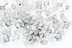 Natural transparent diamonds in macro on white Stock Photography