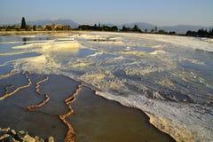 Natural travertine pools in Pamukkale, Turkey stock images