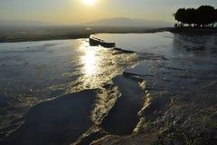 Natural travertine pools in Pamukkale, Turkey royalty free stock images