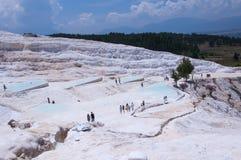 Natural travertine pools and terraces at Pamukkale, Turkey Royalty Free Stock Photos