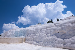 Natural travertine pools and terraces at Pamukkale, Turkey. A miracle of nature. Wonder of nature. Limestone cliffs in Pamukkale in Turkey. Natural travertine Stock Photos