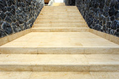 Natural Travertine staircase in the house Royalty Free Stock Photos