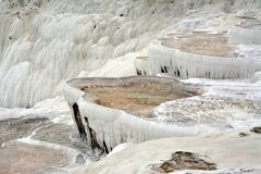 Natural travertine terraces at Pamukkale ,Turkey. stock photos