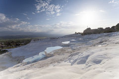 Natural travertines in Pamukkale, Turkey Royalty Free Stock Photos