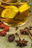 Natural treatment for colds and flu. Ginger lemon honey garlic and rosehip tea against influenza. Hot tea for colds. Home Pharmacy Stock Photography