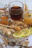 Natural treatment. Lemon,ginger,linden, turmeric Royalty Free Stock Images