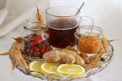 Natural treatment. Lemon,ginger,linden, turmeric Stock Images
