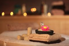 Natural treatments and alight candles. In spa salon Stock Image