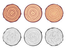Natural tree rings background saw cut tree trunk decorative design elements set vector illustration royalty free illustration
