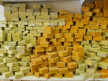 Natural turkish soap shop. Various molds soaps sold in the shop in Turkey stock photos