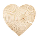 Natural unpainted wooden heart. Isolated over white background Royalty Free Stock Photos