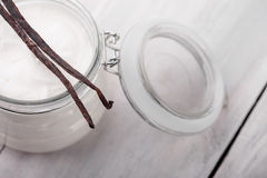 Natural vanilla, shea, cocoa and coconut body butter DIY Royalty Free Stock Image