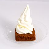 Natural vanilla yogurt Ice cream brownie. Served on a transparent plate Royalty Free Stock Image