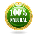 100% natural vector badge. On white background Stock Photos