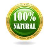 100% natural vector badge Stock Photos