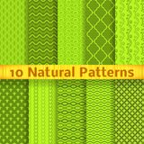 Natural vector seamless patterns (tiling). 10 Natural vector seamless patterns (tiling). Green color. Endless texture can be used for printing onto fabric and stock illustration