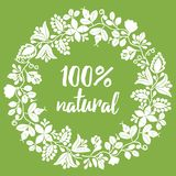 100% natural vector sign on green background. 100% natural vector sign stamp on green background stock illustration