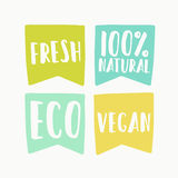 Natural and vegan flag tags. Vector hand drawn illustration stock illustration