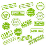 NATURAL, VEGAN, GLUTEN FREE stamp signs Royalty Free Stock Photography