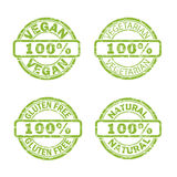 NATURAL, VEGAN, GLUTEN FREE stamp signs Stock Images