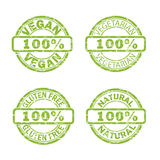 NATURAL, VEGAN, GLUTEN FREE, VEGETARIAN stamp signs Royalty Free Stock Image