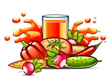 Natural vegetable juice in glass with vegetables. On white background Royalty Free Illustration