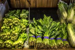 Natural Vegetables on Market Counter. Bok Choy, Chinese White Cabbage stock photos