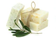 Natural vegetal soap. On white background stock photo