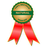Natural verified medal (vector). Medal: 100% recycle natural verified Royalty Free Stock Photography