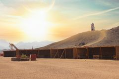 Desert with amazing sky in Egypt. Natural view of desert with great sky and amazing small houses. for your safari posters royalty free stock image