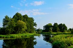 Natural view of the morning light on the lake, from the picturesque bridge, seen in tourist places. Or scenic spots in the Republic of Belarus on the Beaver stock image