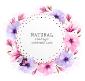 Natural vintage greeting card with a cdolorful flowers. Vector Stock Photo
