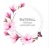 Natural vintage greeting card with pink magnolia. Stock Image