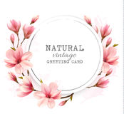 Natural vintage greeting card with pink magnolia. Vector Stock Photo